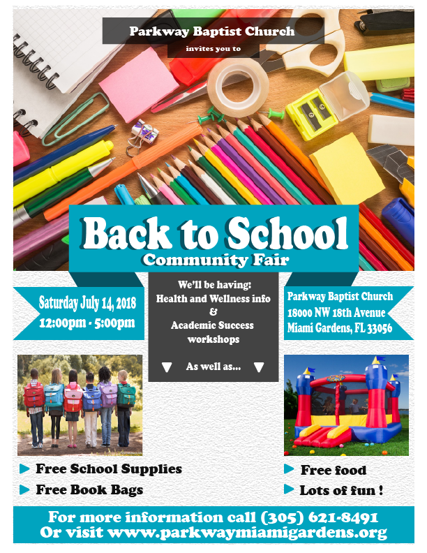 We will be hosting our second Back to School and community fair, where we will be giving away, free backpacks and school supplies, free food and drinks to the community, eye checks and glasses, health resources, food and nutrition workshops, pre-K and VPK information and more.