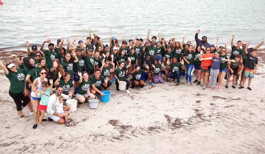 Youth Advisory Committee during a beach clean-up project