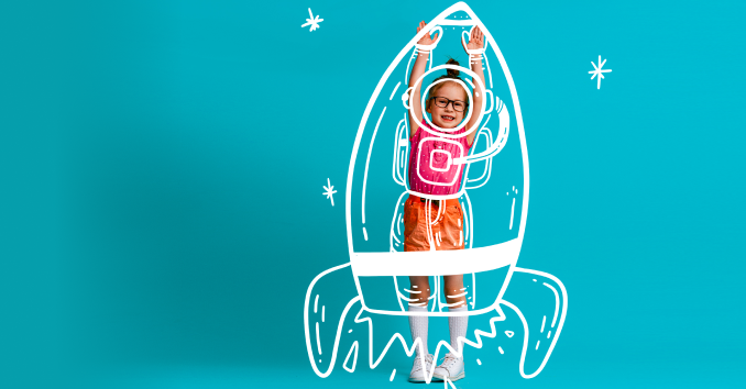 Girl simulating take-off in a make-believe rocket