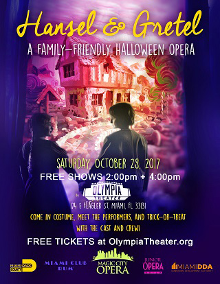 Hansel & Gretel: A Family-friendly Halloween Opera, Come in costume, meet the performers, and trick-or-treat with the cast and crew! FREE Tickets at OlympiaTheater.org