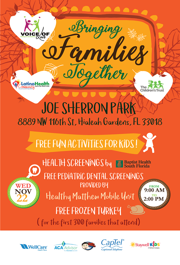 Bringing Families Together - Day at the Park. Free fun activities for kids. Health screenings, free frozen turkey for the first 300 families.