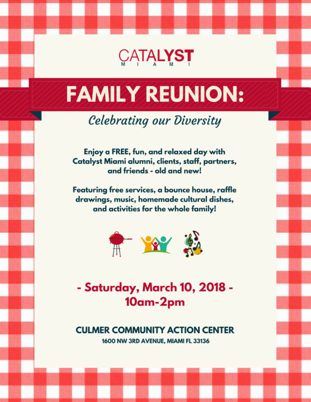 Celebrating Our Diversity. Enjoy A Free, Fun, And Relaxed Day With Catalyst  Miami  Family Reunion Flyer
