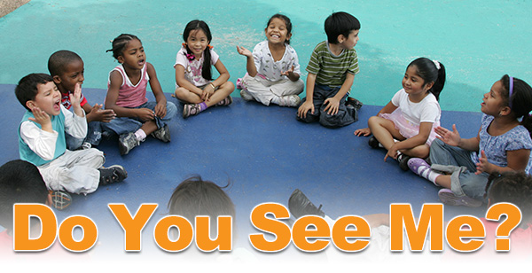 Do You See Me? Event header graphic. Photo: group of children smiling sitting in a circle at a courtyard