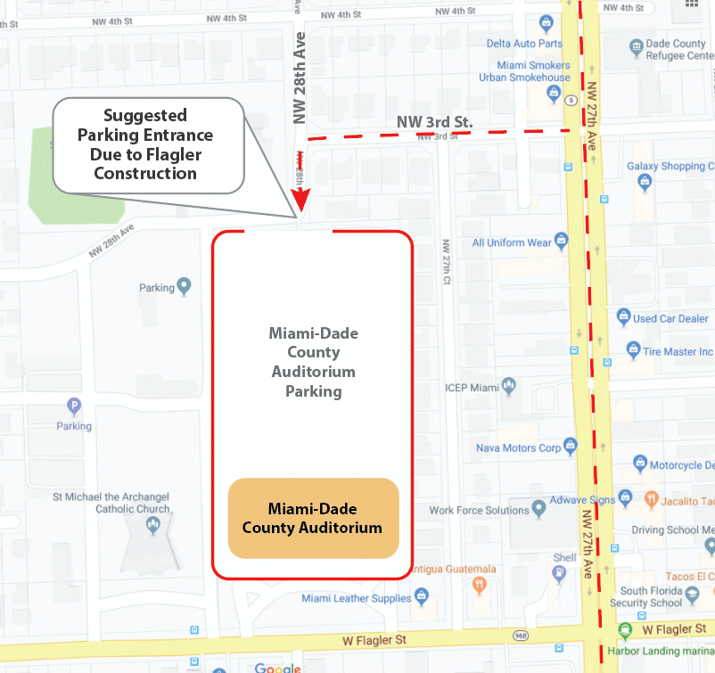 Map to access Miami-Dade County Auditorium through North entrance (NW 3rd St)