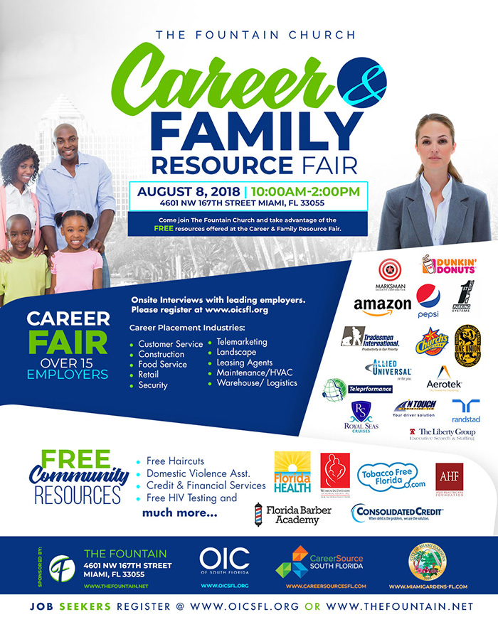 The Career & Family Resource Fair will have a career expo with 15-20 employers hiring for entry level positions. The family resource component will include free haircuts, free screenings and information on community resources for the residents of Miami Gardens and surrounding areas.