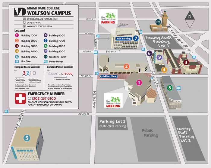 Wolfson Campus map - Meeting in Building 1, Parking in Building 7
