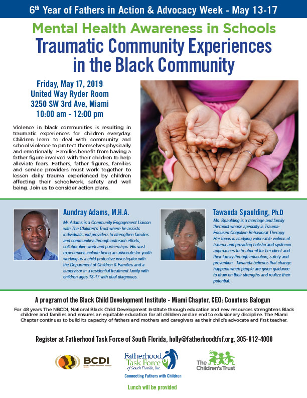 Mental Health Awareness in Schools: Traumatic Community Experiences in the Black Community Event Flyer