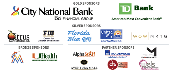 Sponsor Logos - City National Bank, TD Bank, Citrus Health Network, FIU, Florida Blue, United Way of Miami-Dade, WOW Factor, Miami Marlins, AlphaStaff, Aventura Mall, AXA Advisors, M Network, The de Moya Group, WELS