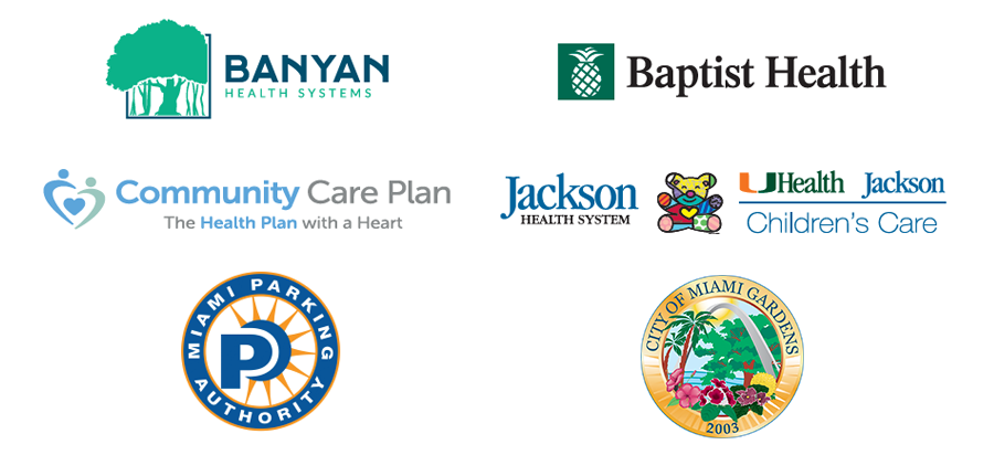 Banyan Health Systems, Baptist Health, Community Care Plan, Jackson Health Systems / UHealth Jackson Children's Care, Miami Parking Authority, City of Miami Gardens