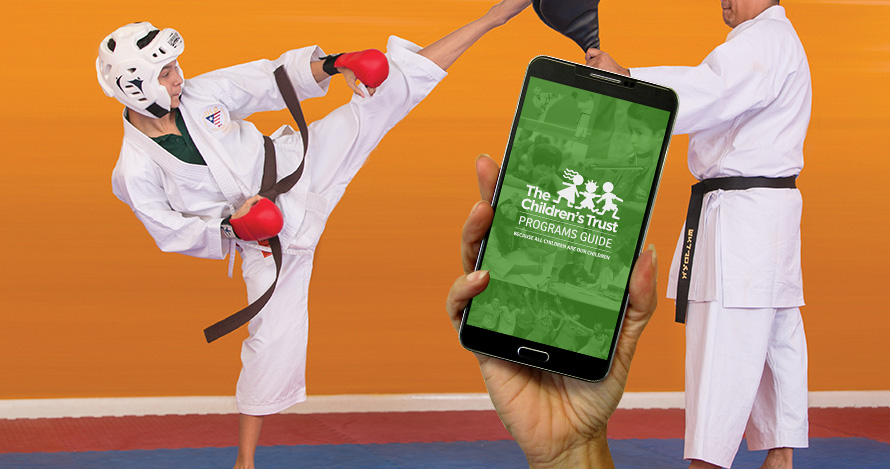 Programs Guide App - Boy practicing martial arts