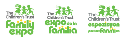 Family Expo logos in English, Spanish and Creole