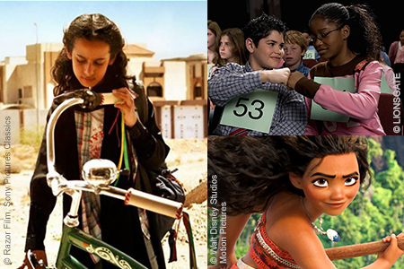 Movie stills from Akeelah and the Bee, Moana and Wadjda.