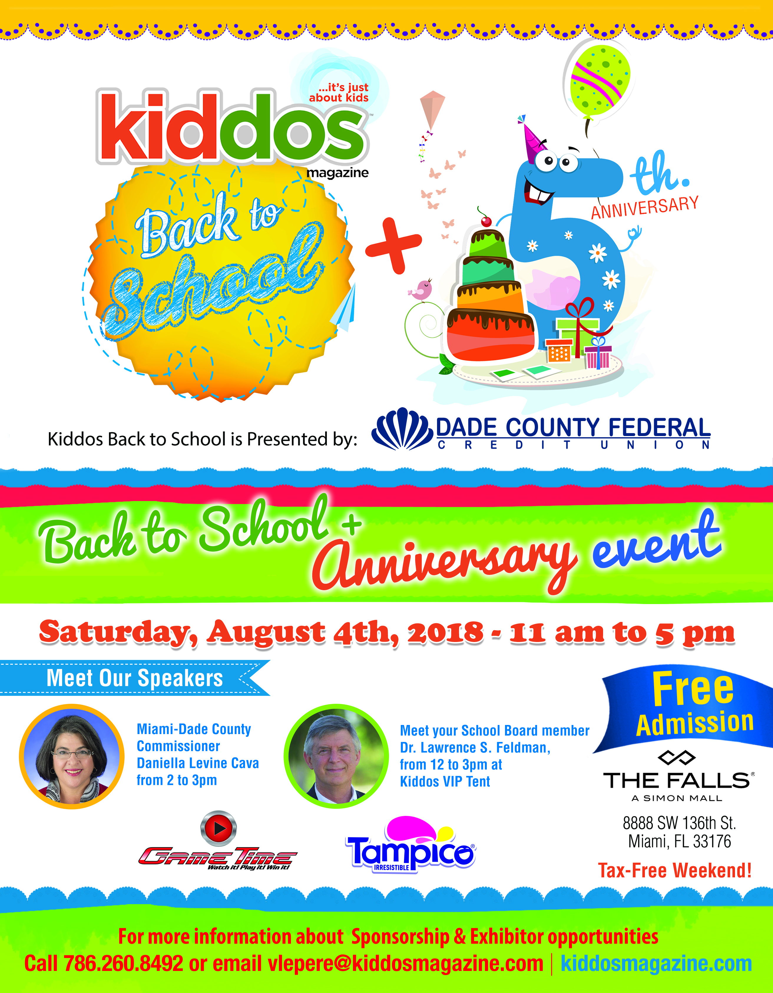 Let's get everyone ready for school!!! Kiddos Back-to-School & 5th Anniversary event brings more than 3,000 attendees, one day filled with arts and craft activities, face painting, balloon artist, science and art projects, safety, storytelling, sports demonstrations, dance, shows, characters, food, goodie bags, music, raffles and much more! Featuring over 50 exhibitors that will offer the latest in products and entertainment for kids, pre-teens, and parents.