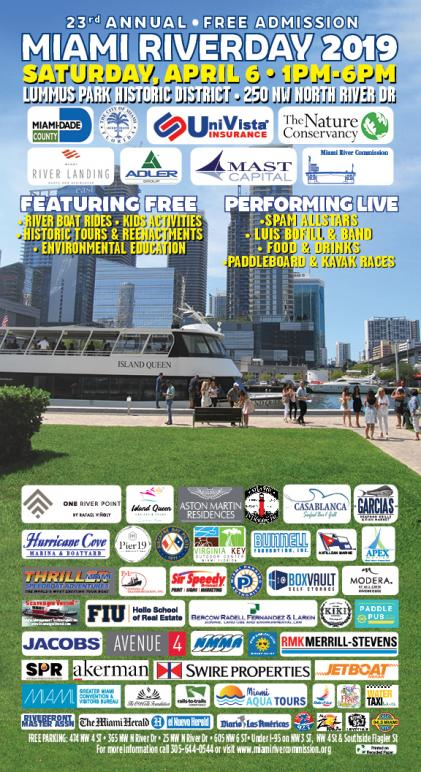 Miami Riverday 2019 Event flyer. Free admission, river boat rides, kids activities, historic tours & reenactments, environmental education. Lummus Park Historic District, 250 NW North River Drive, Miami, FL