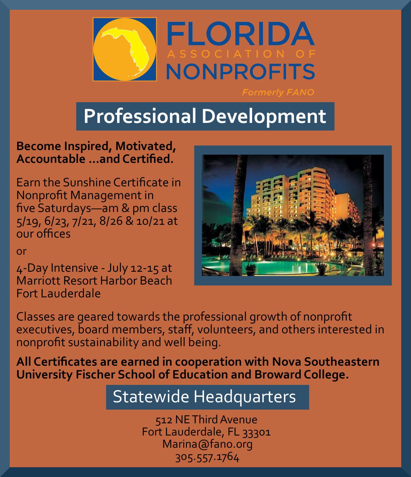 Sunshine Certificate in Nonprofit Management | The Children\'s Trust