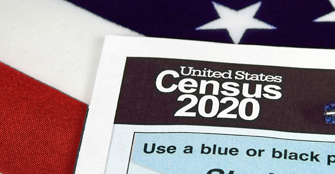 Census 2020 Form on US flag