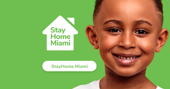 StayHome.Miami logo and photo of boy smiling