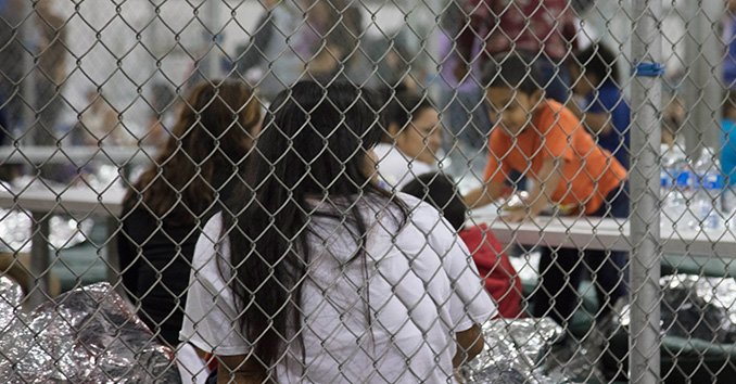 Children being held in chainlink cages by U.S. Customs and Border Protection