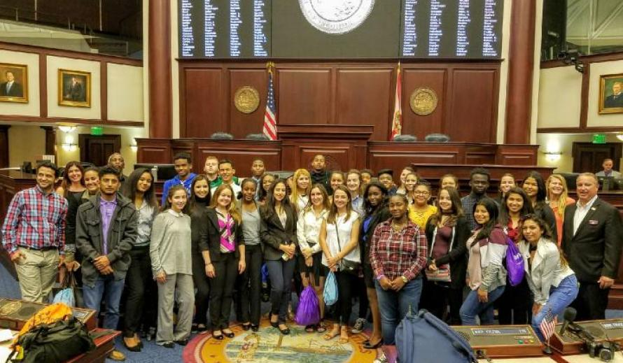 The Children's Trust Youth Advisory Committee at the Florida State House in Tallahassee
