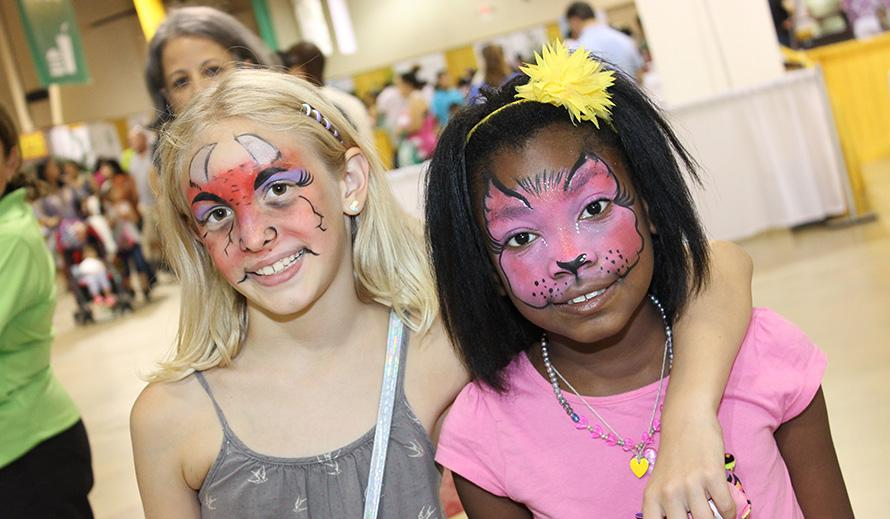 Girls with faces painted.