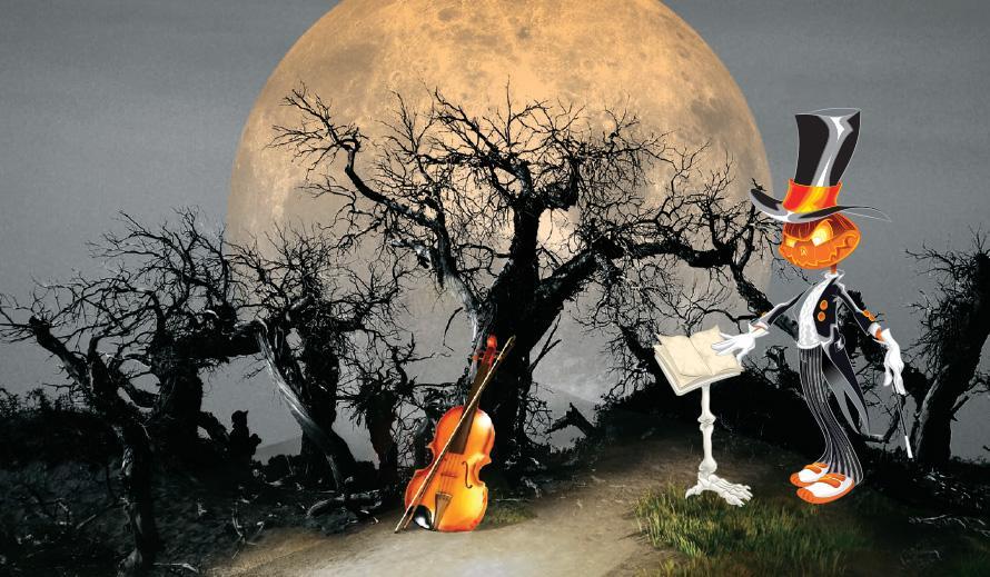 Imagen de un conductor calabaza en un bosque tenebroso de noche con la luna llena saliendo en el fondo