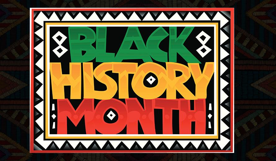 Bright red, black, white, yellow and green sign reading Black History Month.