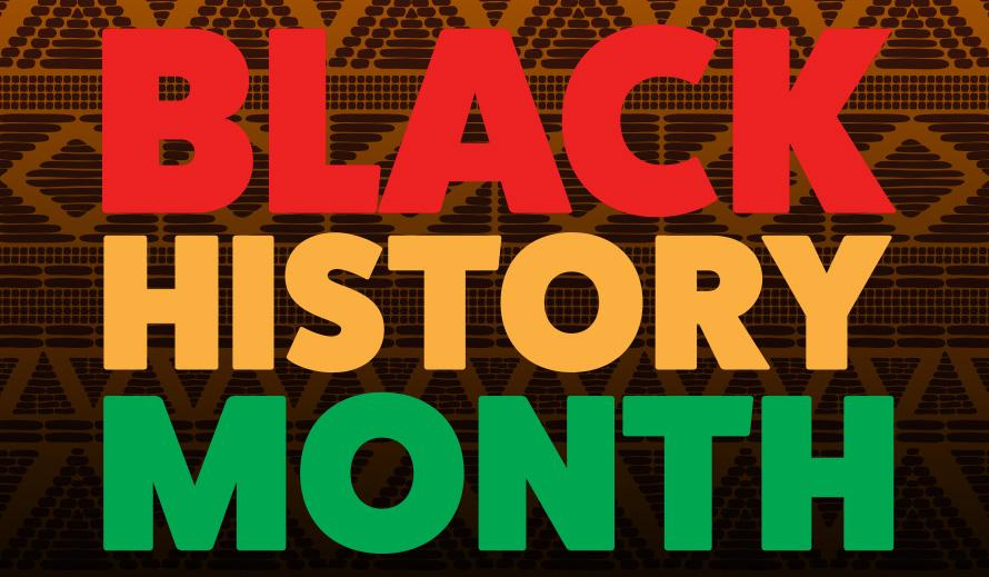 Bright red, orange and green sign reading Black History Month.