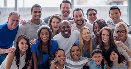 A group of diverse people come together for the 2020 Census.