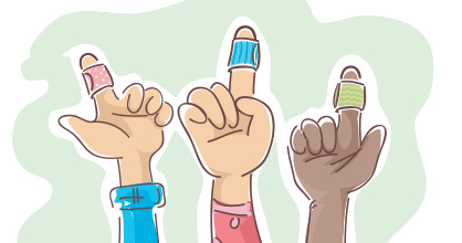 Illustration of three children's bandage-wrapped fingers.