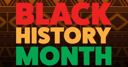 Letrero en rojo brillante, naranja y verde donde se lee Black History Month.