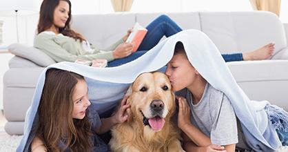 Los niños juegan con el perro mientras la madre lee.