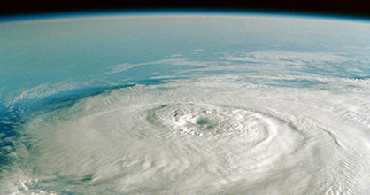 View of a hurricane from high altitude