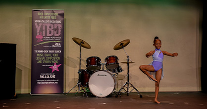 A young girl auditions during the 2020 Young Talent Big Dreams competition.