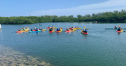 YAC members venture out into the lagoon on kayaks on Virginia Key